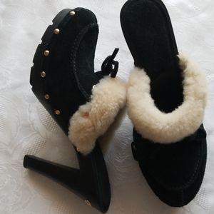 MICHAEL KORS Black Suede Leather Faux Fur Lined Hi
